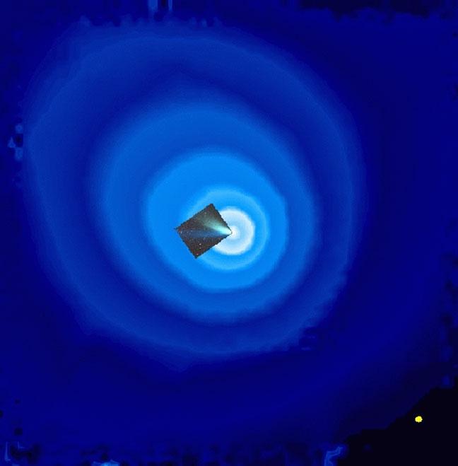ابر عظیمی از هیدروژن، دنباله دار هیل-باپ را هنگام نزدیک شدن خورشید در سال 1997 احاطه کرد. اشعه ماورای بنفش نور که توسط دستگاه SWAN در فضاپیمای سوهو رسم شد، نشان داد که این ابر به مراتب از دم قابل مشاهده دنباله دار بزرگ فراتر رفته است (عکس ضمیمه) - 70 بار گسترده تر از خود خورشید(دایره زرد نسبت به مقیاس در سمت راست).