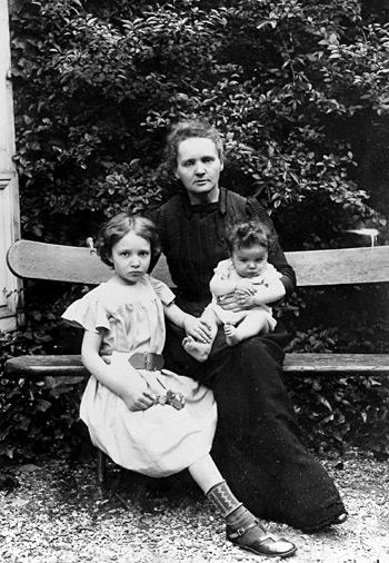 تصویری از ماری کوری و فرزندانش