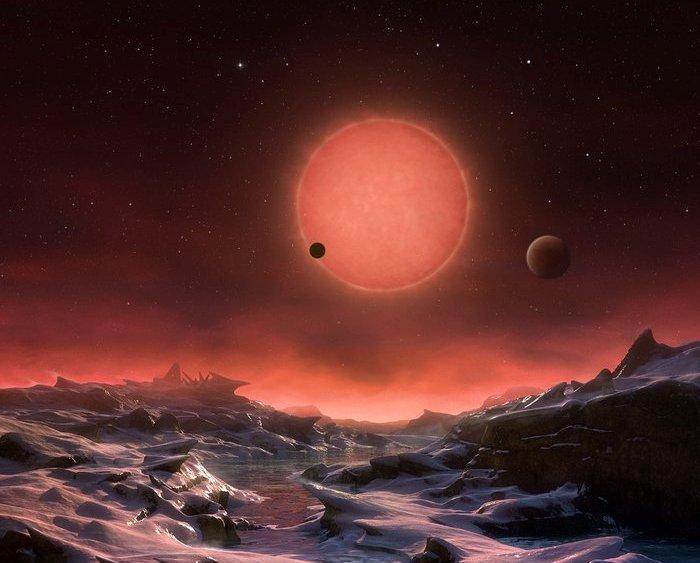 تصویری هنری از ستاره ی کوتولۀ TRAPPIST-1 و سیاراتش