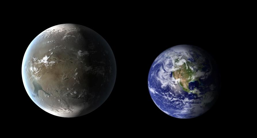 تصویری مقایسه ای از زمین و سیاره ی کپلر 62f