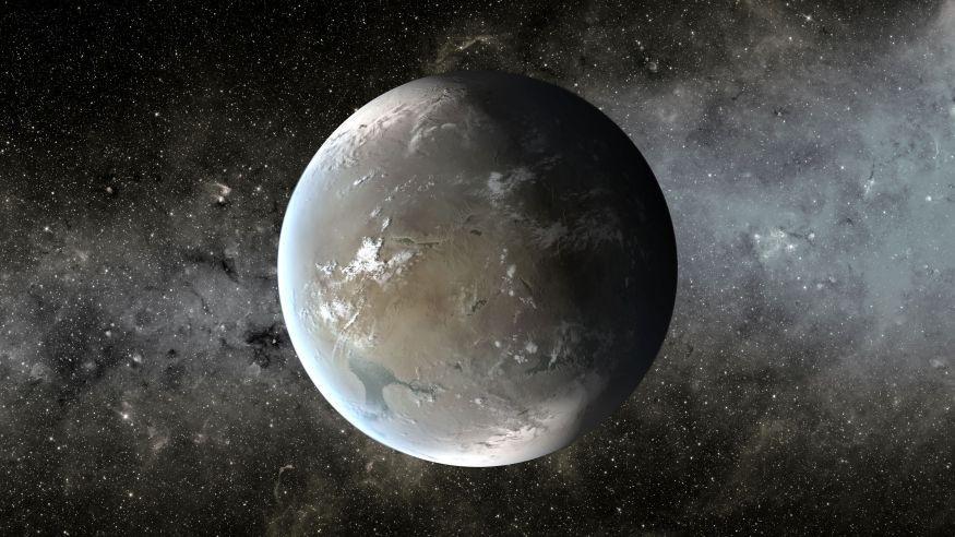 تصویری هنری از سیارۀ کپلر 62f، یک سیاره که در منطقه قابل سکونت از ستارۀ خود در فاصله ی 1200 سال نوری از زمین واقع شده