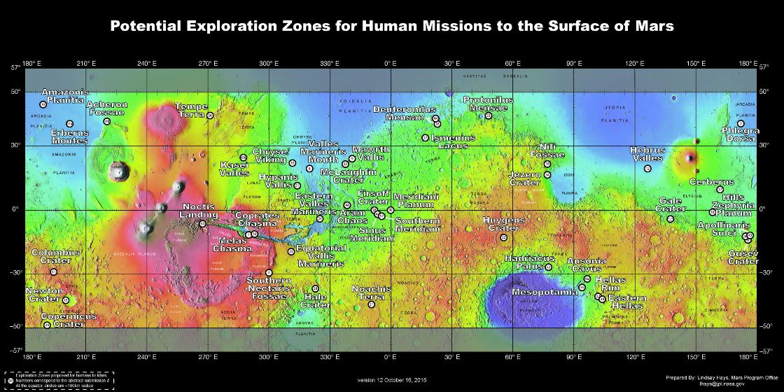 سال گذشته محققان 50 مکان مناسب جهت فرود فضاپیمای حامل انسانها بر روی سیاره سرخ را شناسایی کردند.