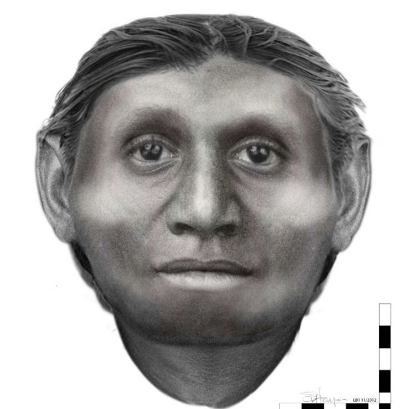 تصویری شبیه سازی شده از صورت فسیل انسان هابیت که در اندونزی یافت شده است.