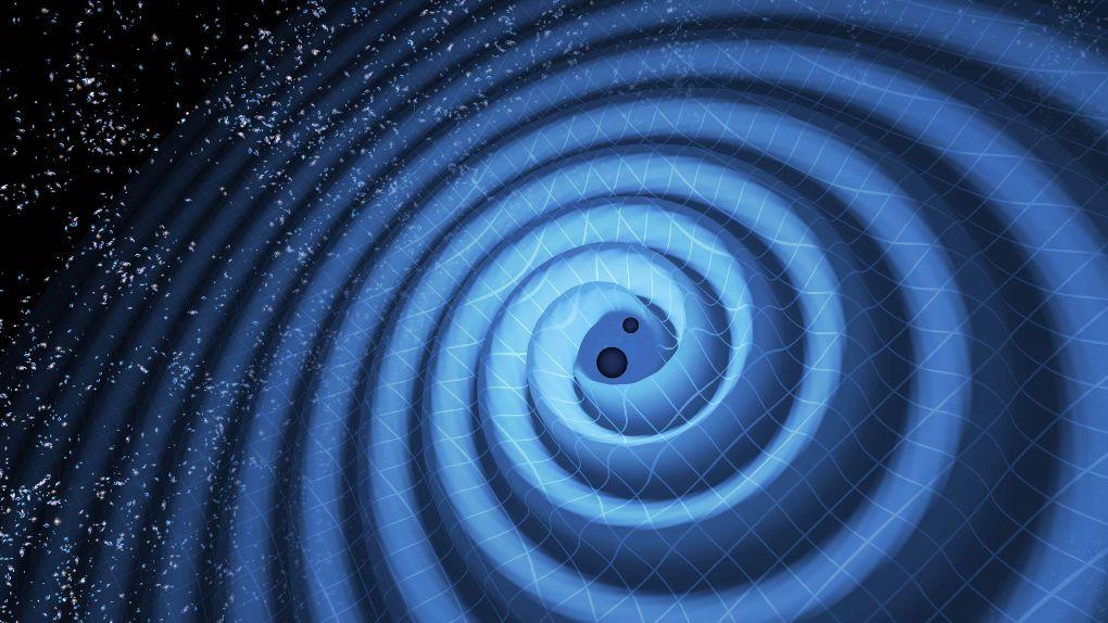 تصویری هنری از چرخش دو سیاهچاله به دور هم و برخورد آنها با یکدیگر که در فاصله ی 1.4 میلیارد سال نوری از زمین قرار دارند. برخورد این سیاهچاله ها در بافت فضا-زمان موجب ایجاد امواج گرانشی شد.
