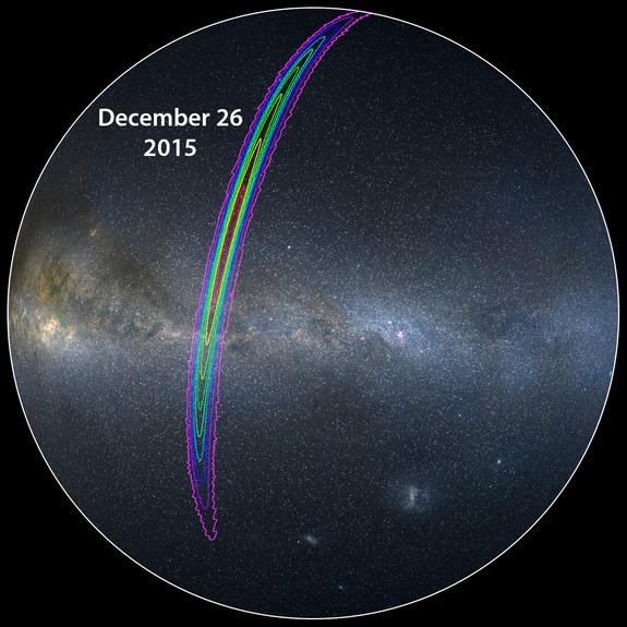 این نقشه آسمان ناحیه ای که سیگنال امواج گرانشی توسط تیم لیگو در دسامبر 2015 رصد شد را نشان می دهد.