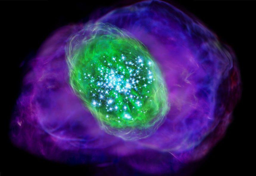 تصویری هنری از ستارگان جوان و گازهای کهکشان SXDF-NB1006-2