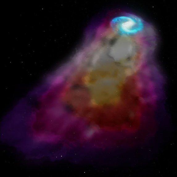 تصویری هنری از گازهای اطراف یک کهکشان