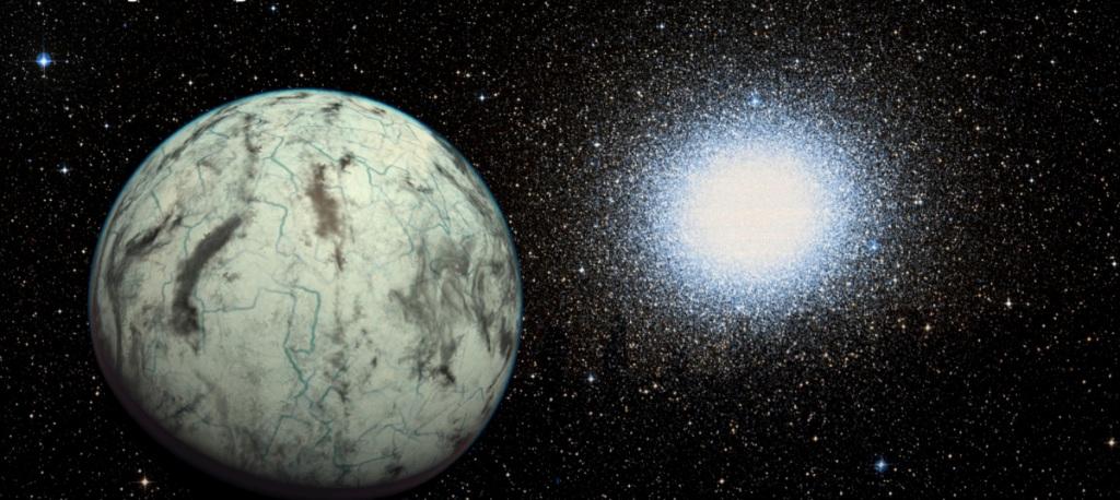 سیاره ی کاپتین ب، به همراه خوشه کروی امگا سنتوری در پس زمینه ی تصویر