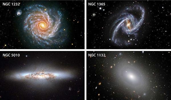 ترکیب بندی و شکل تعدادی از کهکشان