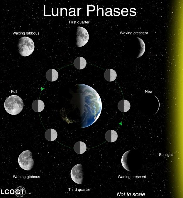 دیاگرام مشاهده ماه در آسمان