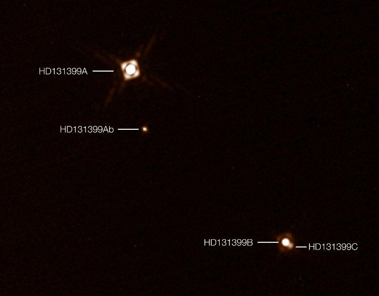 تصویری واقعی از سیستم سه ستاره ای HD 131399 و موقعیت سیاره ی مشتری مانند HD 131399Ab در مرکز تصویر