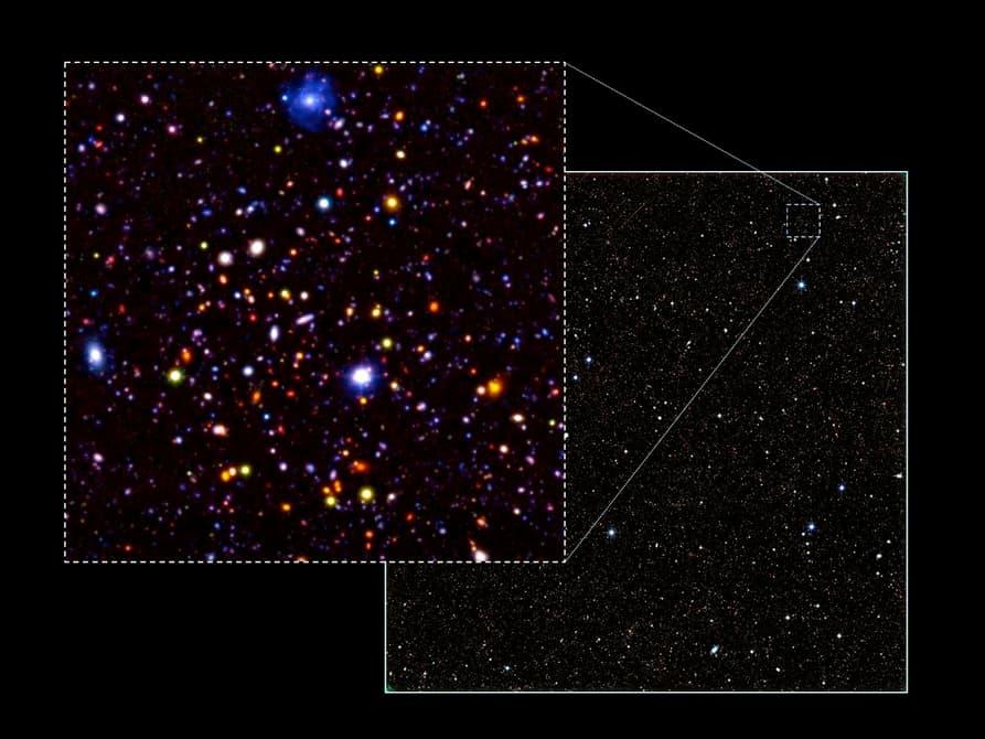 در تصویر که به اندازه ی 4 برابر اندازه ی ماه کامل در آسمان است، بیش از 250 هزار کهکشان باستانی وجود دارد.