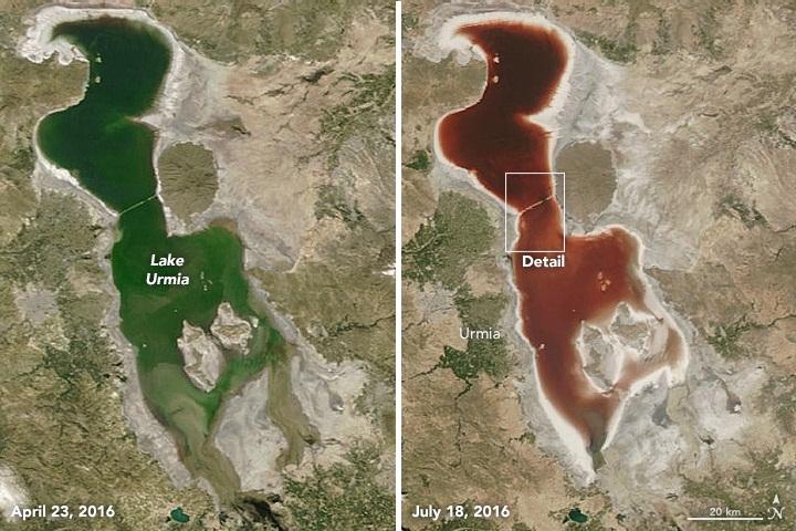 تصویر ماهواره ای ثبت شده در 23 آوریل گویای آن است که آب دریاچه رنگی بسیار متفاوت با آنچه که در جولای مشاهده شد، به خود گرفته است.