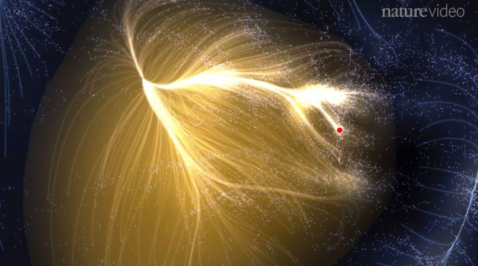 دانشمندان نخستین نقشه از یک ابرخوشه عظیم به نام لانیکیا (ابرخوشه ای که کهکشان راه شیری و بسیاری دیگر از کهکشانها در آن وجود دارند) را تهیه کنند. این تصویر که در واقع به کمک شبیه سازی کامپیوتری توسط مجله نشنال ویدئو طراحی شده است، نمایی از ابرخوشه کهکشانی غول پیکر ذکر شده را به تصویر می کشد، و موقعیت کهکشان راه شیری نیز در این تصویر با نقطه قرمز رنگ مشخص شده است.