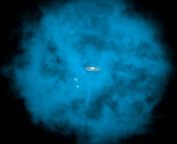 عکسی که اینجا میبینید یک نقاشی است و برداشتی هنری از هالهی کهکشان راه شیری را نشان میدهد. چنان چه میبینید، ابرهای کوچک و بزرگ ماژلان که همدمهای راه شیری هستند هم در این هاله جای دارند.