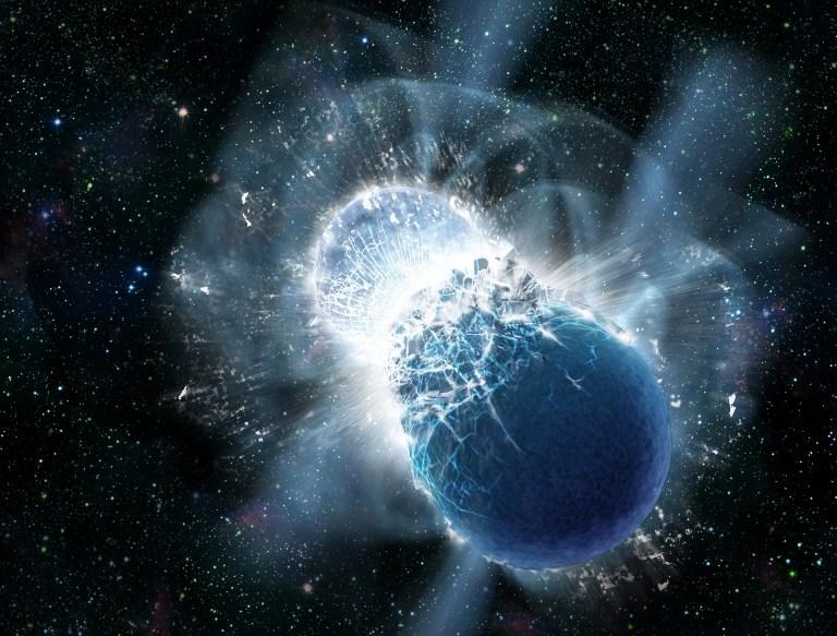 تصویری هنری از برخورد و ادغام ِ دو ستاره ی نوترونی
