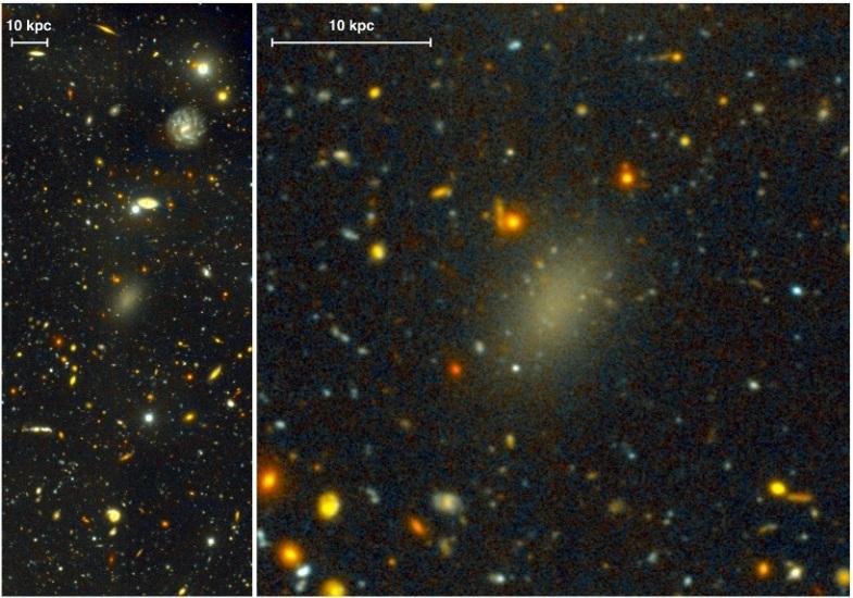 تصویری از کهکشان ِ تاریک دراگون فلای 44. تصویر سمت چپ نمای گسترده ی کهکشان را که با طیف نگار تلسکوپ جمنای شمالی گرفته شده، نشان می دهد. در سمت راست نمای زوم شده همان تصویر و هاله ی اطراف کهکشان دیده می شود.