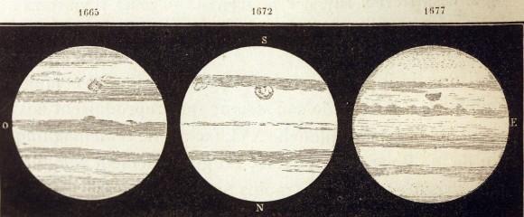نقاشی جیوانی کاسینی در سال 1665 که احتمالا نقطه ی سرخ بزرگ در مشتری را نشان می دهد.