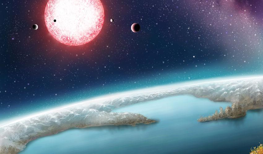تصویری هنری از سیاره ی Kepler-186f که در منطقه ی قابل سکونت از ستاره ی خود قرار دارد.