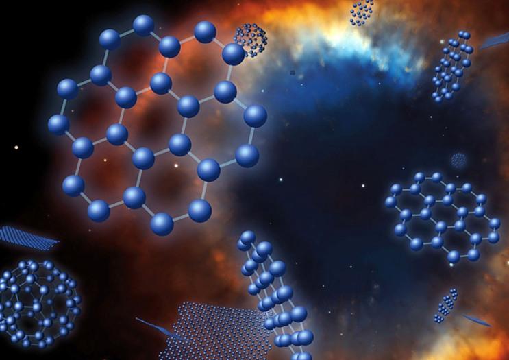 تصویری هنری از گونهای مولکول بنام هیدروکربنهای آروماتیک چندحلقهای(PAHها) ،دانشمندان بر این گمانند که رشد مولکولهای آلی پیچیدهای مانند PAHها، یک گام در راه پیدایش حیات است.
