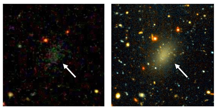 کهکشان تاریک دراگون فلای 44 تصویر سمت چپ توسط نقشهبرداری آسمانی دیجیتال اسلون گرفته شده که تنها لکه ای ضعف قابل مشاهده است. تصویر سمت راست نیز با تلسکوپ جمنای طی مدت طولانی به ثبت رسیده است.