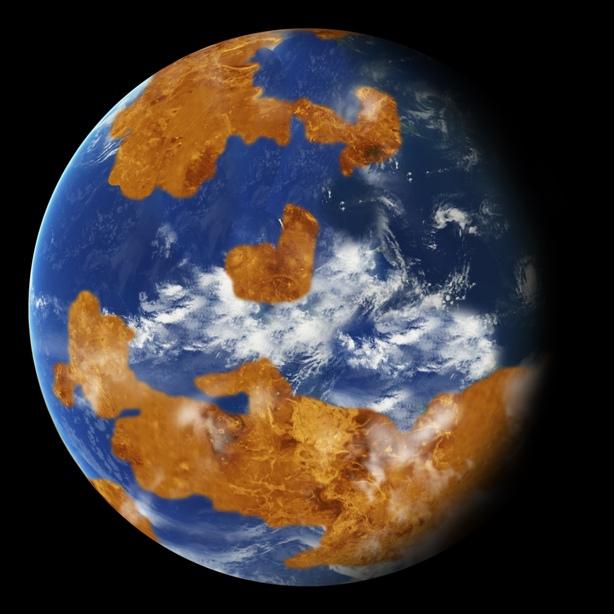 تصویری هنری از گذشته ی سیاره ی ناهید، به گفته ی محققان این سیاره زمانی قابل سکونت بود.