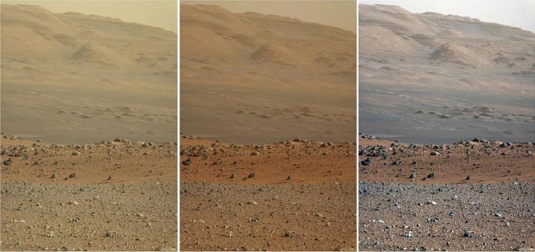 """سه نسخۀ عکسی از منظره ای یکسان در مریخ که توسط مریخ نورد کنجکاوی ثبت شده است. سمت چپ: دست نخورده. وسط: به """"طوری که چشم انسان در مریخ آن را می بیند"""" تغییر یافته است. سمت راست: به گونه ای که در صورت یکسان بودن نورپردازی در کره زمین و مریخ دیده می شود. (به تغییر هایی که در رنگ آسمان در 3 تصویر ایجاد شده، دقت کنید.)"""