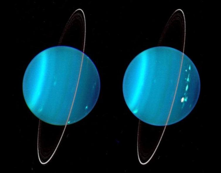 2 تصویر از سیاره اورانوس با رنگ های مصنوعی – اولی با استفاده از 3 طول موج نور زیر قرمز نزدیک، دومی با نور مرئی.