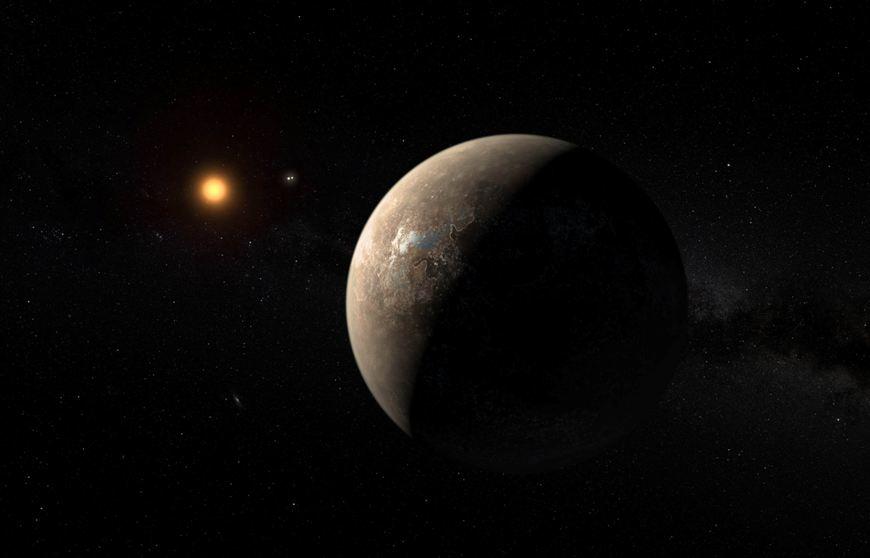 تصویری هنری از سیاره ی تازه کشف شده ی پروکسیما B که به دور ستاره ی پروکسیما قنطورس می چرخد که تنها 4.23 سال نوری با زمین فاصله دارد.