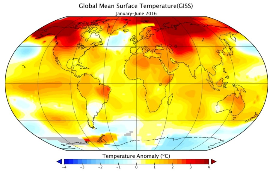 نقشه ی گرمترین ماه های سال 2016 توسط ناسا