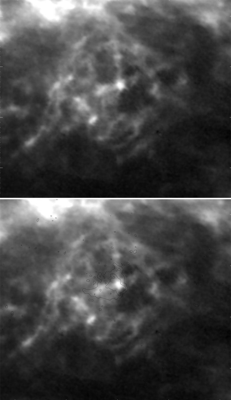 بالا: نقشه گاز هیدروژن خنثی در بخش بیرونی کهکشان راه شیری که یک ابرپوسته غولپیکر به پهنای ۳۰۰۰ سال نوری را در آن نشان میدهد. چندین ساختار پرهای کمرنگ هم در آن دیده میشود. پایین: در مرکز این حباب یک ابر پرسرعت است که محدودههای رادیوئیاش در این نمای ترکیبی نشان داده شده است. این ابر به احتمال بسیار هنگامی که به درون گازهای کهکشان نفوذ کرده این حباب را پدید آورده است