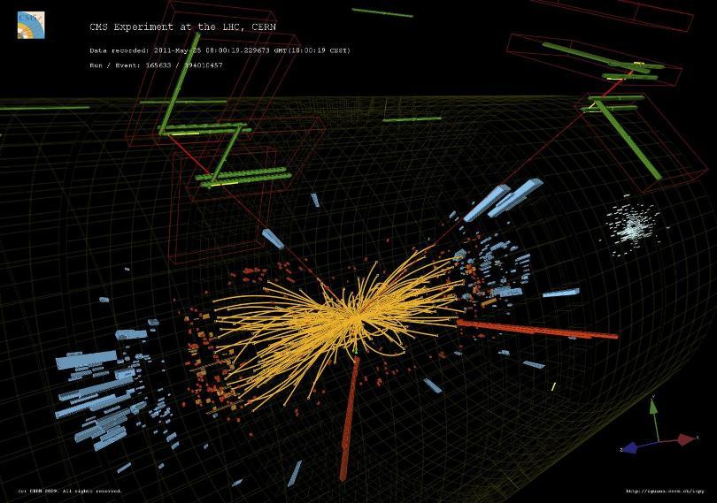 برخورد پروتون-پروتون CMS واقعی که درآن دو الکترون پر انرژی و دو موآن پرانرژی مشاهده می شود.