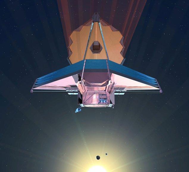 تصویری هنری از تلسکوپ فضایی جیمز وب متعلق به سازمان ناسا