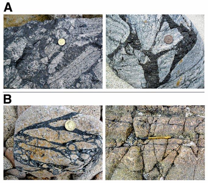 """شبه بکیلیت(Pseudotachylite) - """"سنگ های بازالتی دانه ریز"""" که در جزایر کوچک بریتانیا یافت می شوند."""
