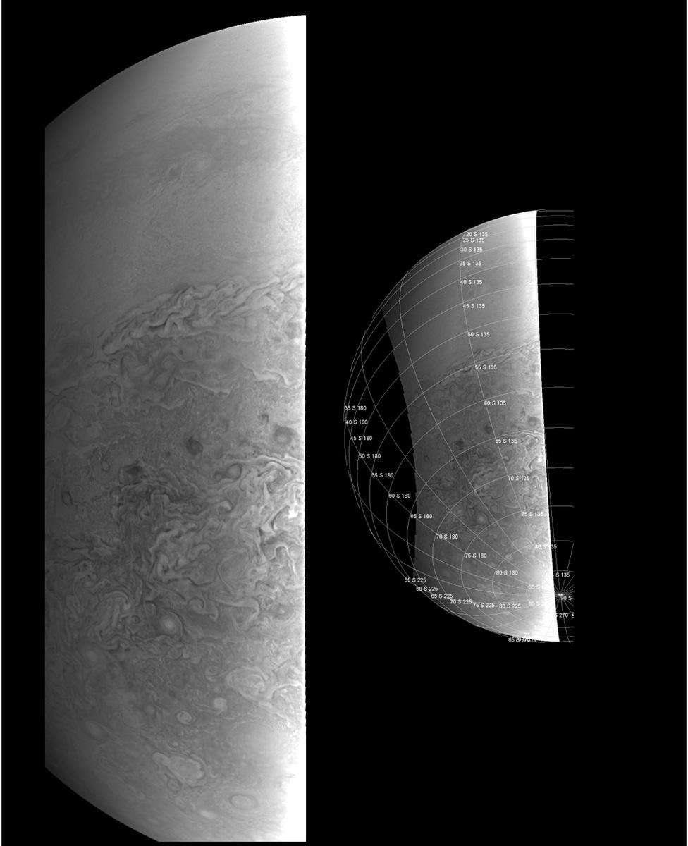 عکسی از نیمکره ی جنوبی سیارۀ مشتری از فاصله ی 38 هزار کیومتری