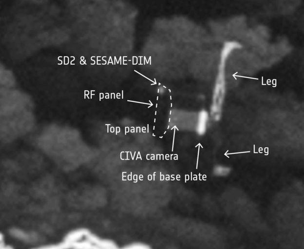 نمایی زوم شده از کاوشگر فیله روی دنباله دار