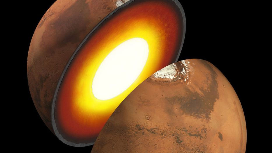 نمایی هنری از سطح داخلی سیاره ی مریخ