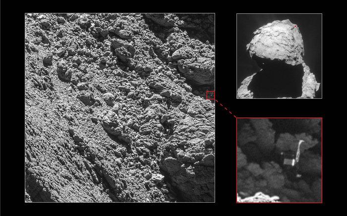 تصاویر فیله را در سایه ی یک صخره روی دنباله دار نشان می دهد.