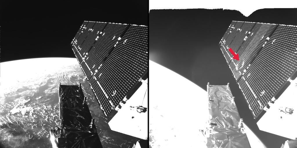 تصویری از برخورد ریزگرد فضایی به پنل خورشیدی فضاپمیای اروپایی