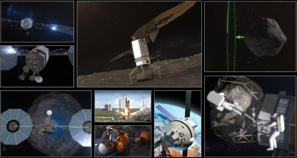 طرحی شماتیک از مراحل ماموریت تغییر مسیر سیارک