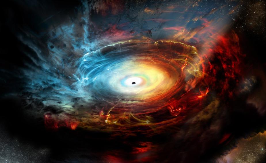 تصویری هنری از قلب کهکشان NGC 1068 که سیاهچاله بزرگی را به تصویر می کشد. به دلیل قرص خارجی سیاهچاله، آرایه تلسکوپی آلما، توانست ابرهایی از گرد و غبار و گازهای مولکولی سرد کشف کند. این ماده به خاطر وجود میدان های مغناطیسی در قرص شتاب می گیرد و در هر ثانیه تقریبا به سرعت 400 تا 800 کیلومتر می رسد. این ماده جایگاه خود را در قرص از دست داده و ناحیه ی پیرامون سیاهچاله را از تلسکوپ های نوری در زمین پنهان می سازد. در واقع، سیاهچاله خود را پشت نقابی از گازهایش پنهان می کند.