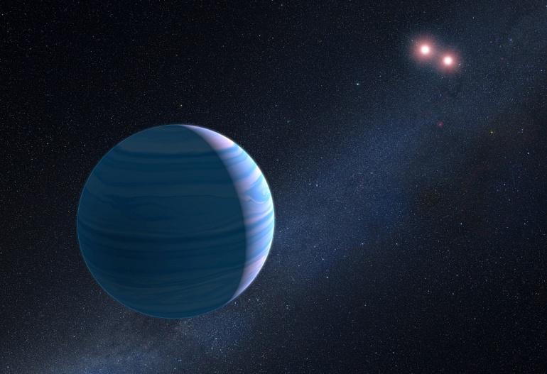 تصویری هنری از این سیاره در منظومه ی دو ستاره ای