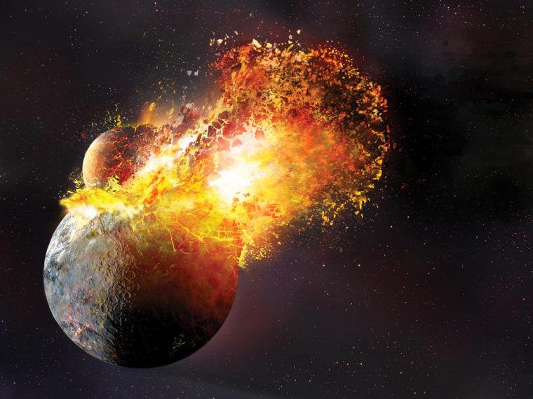 تصویری هنری از برخورد سیاره ای هم اندازه ی مریخ به زمین که منجر به تولد ماه شد.