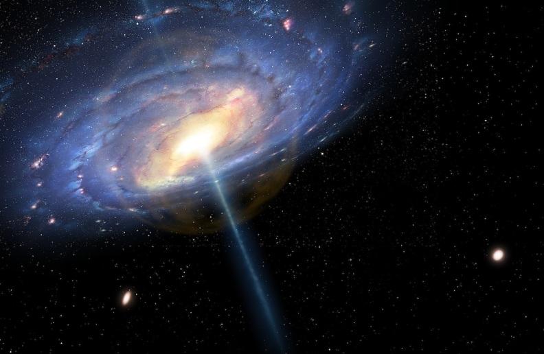 """تصویری هنری از کهکشان راه شیری در ۶ میلیون سال پیش، زمانی که یک دورهی """"اختروشی"""" را گذرانده بود."""