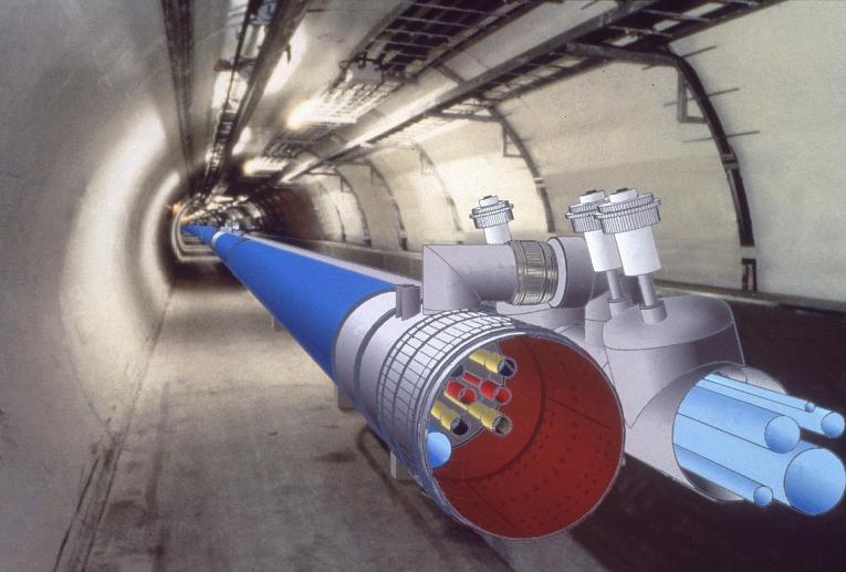 تصویر کامپیوتری از شتاب دهنده ی ذره ی LHL سرن در تونل ساخته شده برای شتاب دهنده ی LEP که البته در سال 2000 میلادی بسته شد.