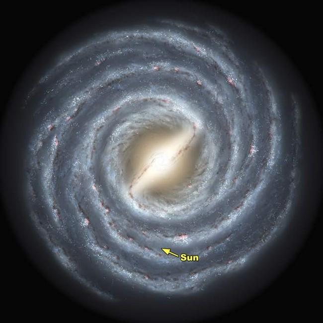 تصویری هنری از موقعیت خورشید در کهکشان راه شیری