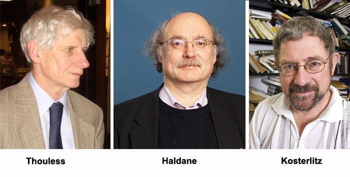 برندگان نوبل فیزیک ۲۰۱۶، از راست: مایکل کوسترلیتز، دانکن هالدین، دیوید تولس