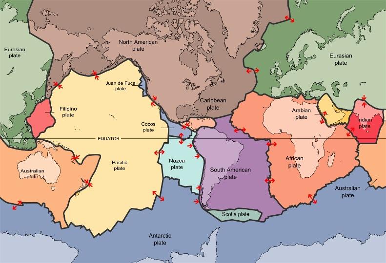 تصویری از صفحات تکتونیک زمین و مرزهای صفحه
