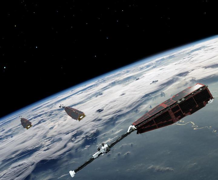 نمایی هنری از ماهواره های Swarm بر فراز زمین.