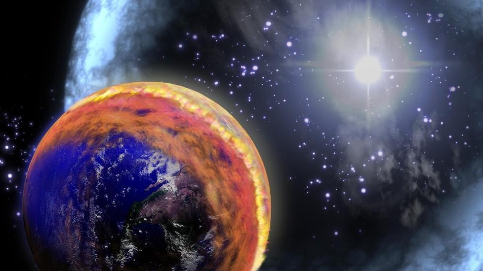 تصویری هنری از برخورد انفجار پرتوی گاما با زمین. اشعه گاما موجب تحولاتی در اتمسفر زمین می شود.